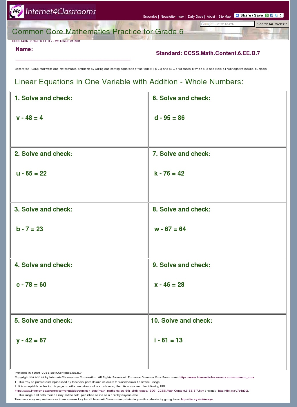 Common Core Math Worksheet For High School