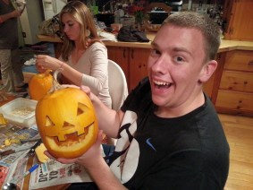 Caleb was the model for his own pumpkin