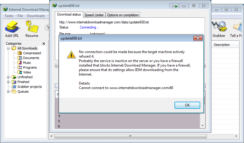 When I try to download any file with IDM it just tries to connect to the Internet and cannot start downloading or shows some message that ...