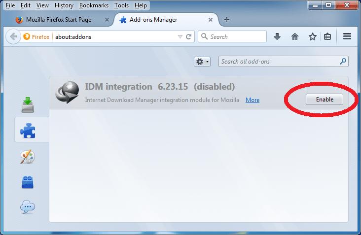 Firefox add-ons window