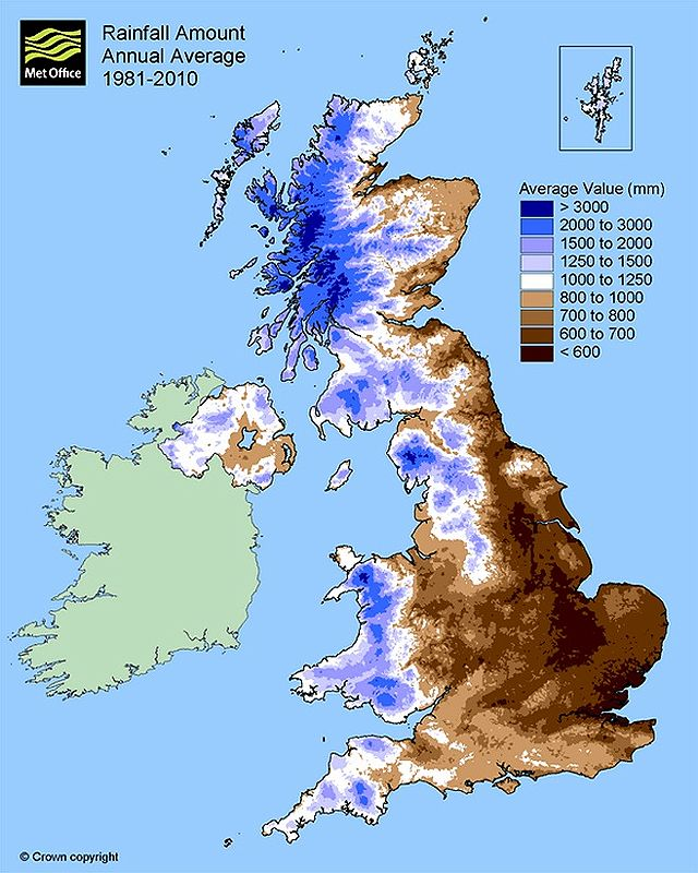 Average yearly rainfall in the UK between 1981 and 2010 - source UK Met Office