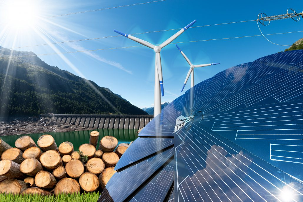 Renewable energy sources - Wind energy (wind turbines) solar energy (solar panels) biomass (tree trunks) and hydropower (dam for hydroelectric power)