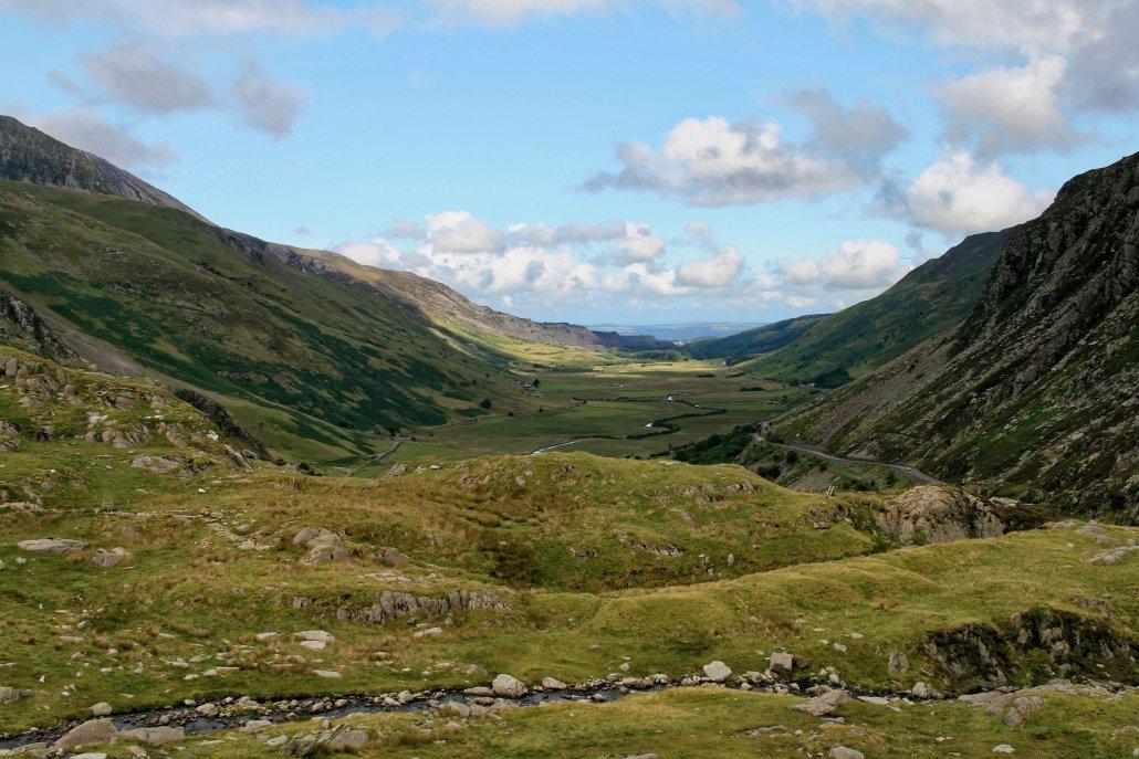 Nant Ffrancon, a u-shaped valley in Snowdonia.