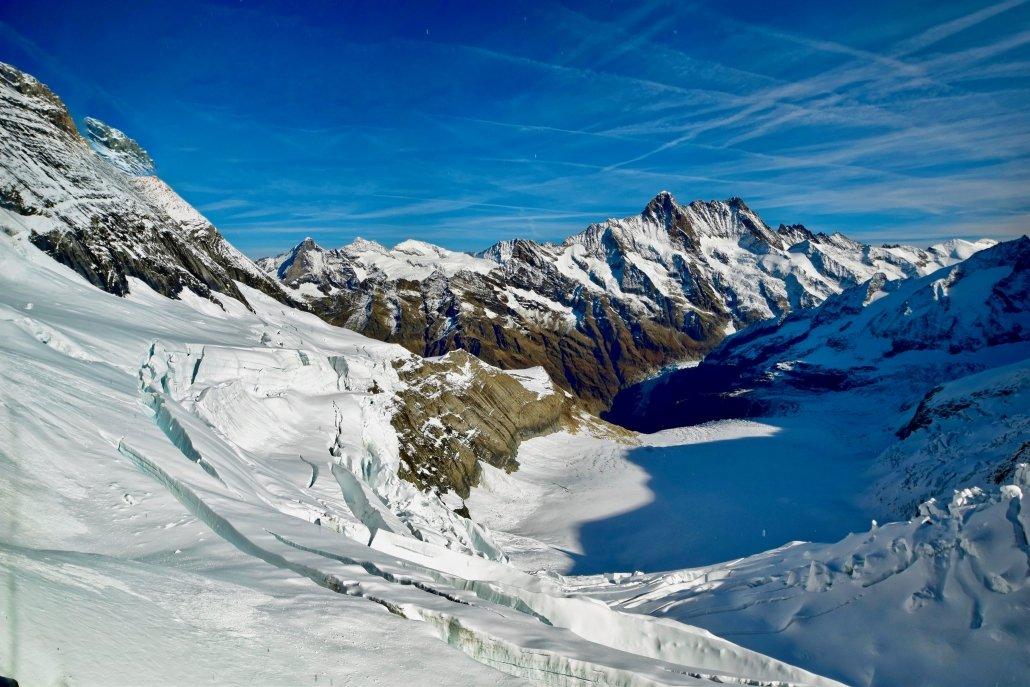 Crevasses in a glacier in the Swiss Alps