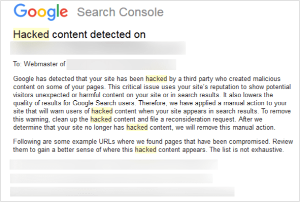 Search Console email