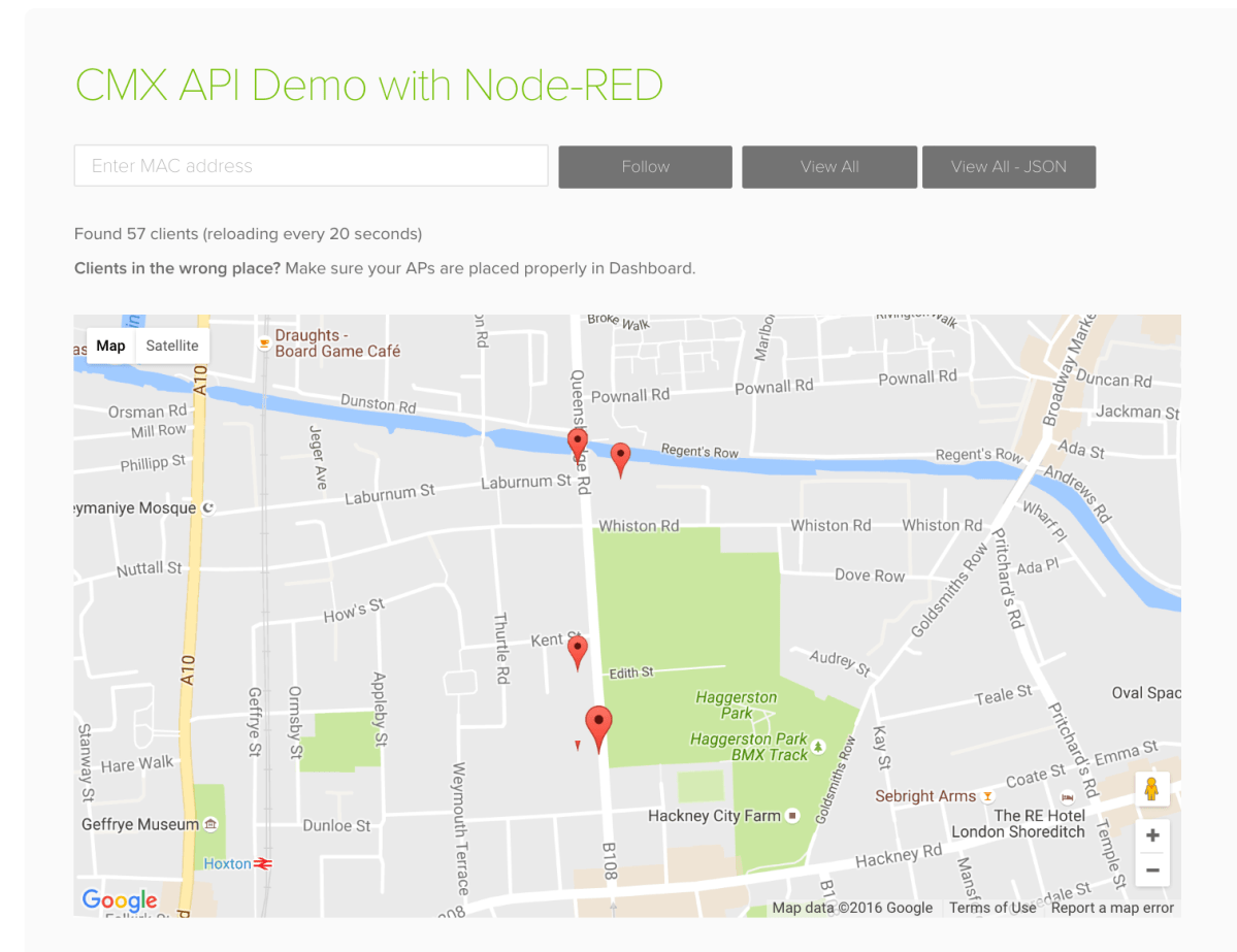 WiFi Location Fun with Cisco Meraki CMX & Node-RED