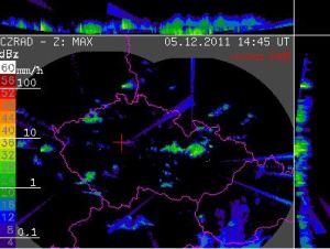 Nefiltrovaná dat z meteorologického radaru