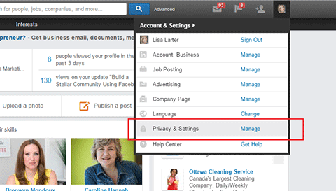 accessing public profile settings