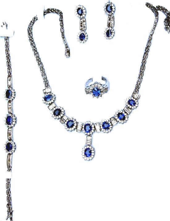 Gemstone Jewelry Sets Ceylon Sri Lanka RubiesBlue