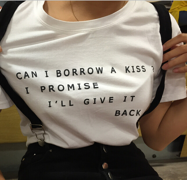 Womens-font-b-Funny-b-font-T-shirt-WhiteCan-I-borrow-a-Kiss-American-T-shirt