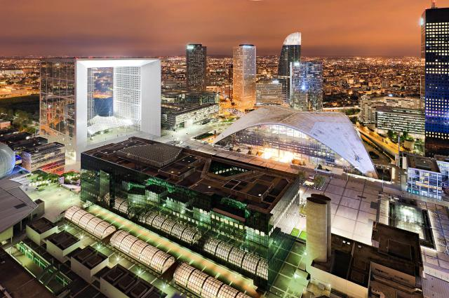 Grande Arche of La Défense and CNIT at night, Paris