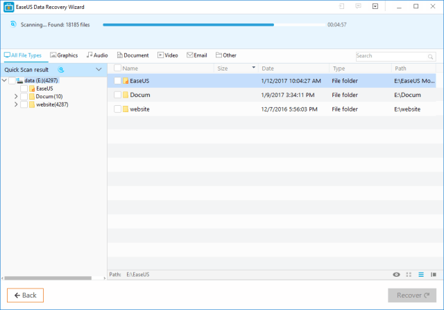 EaseUS Data Recovery Wizard Review scan