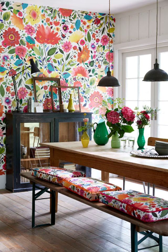 brightly colored or patterned wallpaper