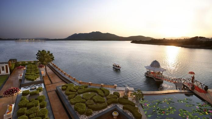 The Leela Palace overlooks the beautiful Lake Pichola.