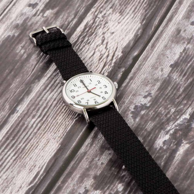 Black Perlon Strap Watch