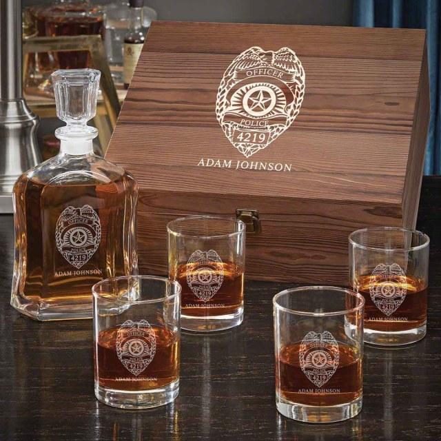 Customized Police Badge Whiskey Set