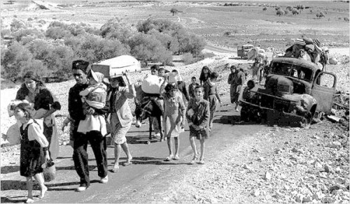 Palestinian refugees seeing during the Nakba in 1948