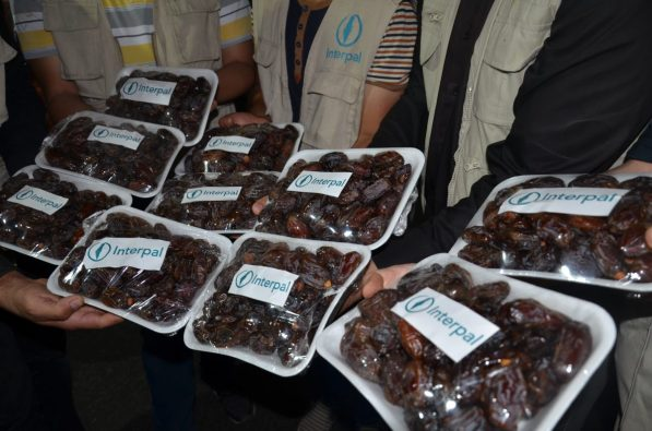 Delivering packaged dates in Gaza