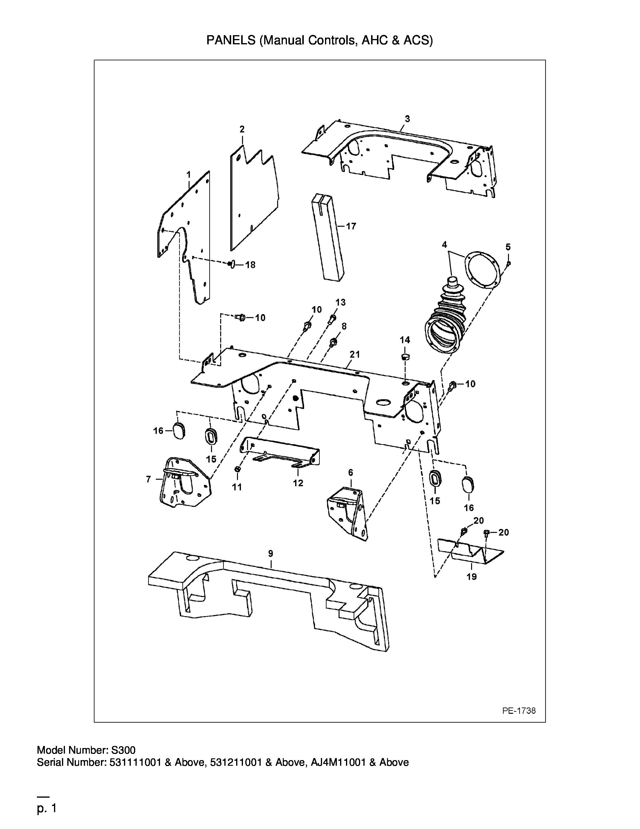 TABLEAU DE BORDS (Manual Controls, AHC & ACS)[712238