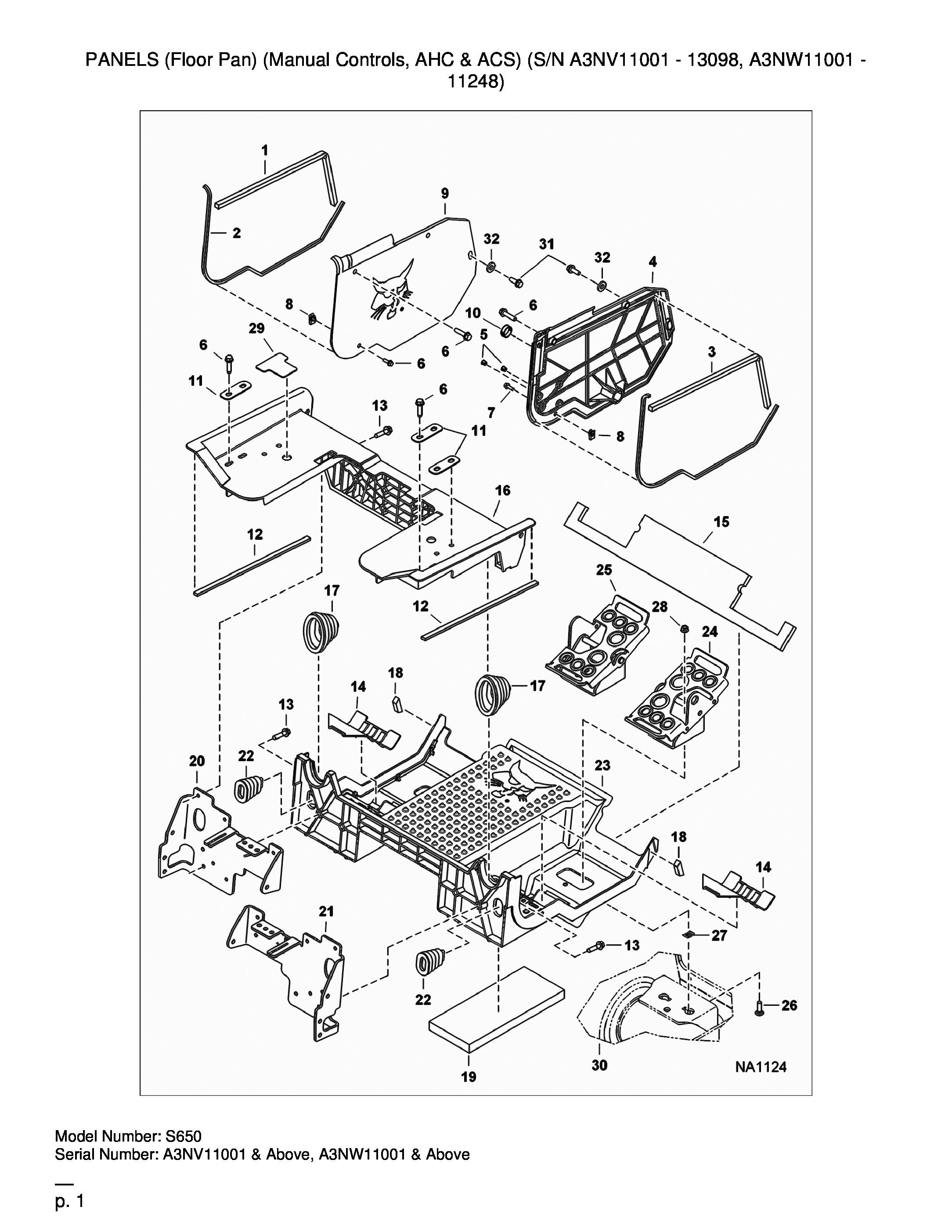 TABLEAU DE BORDS (Floor Pan) (Manual Controls, AHC & ACS