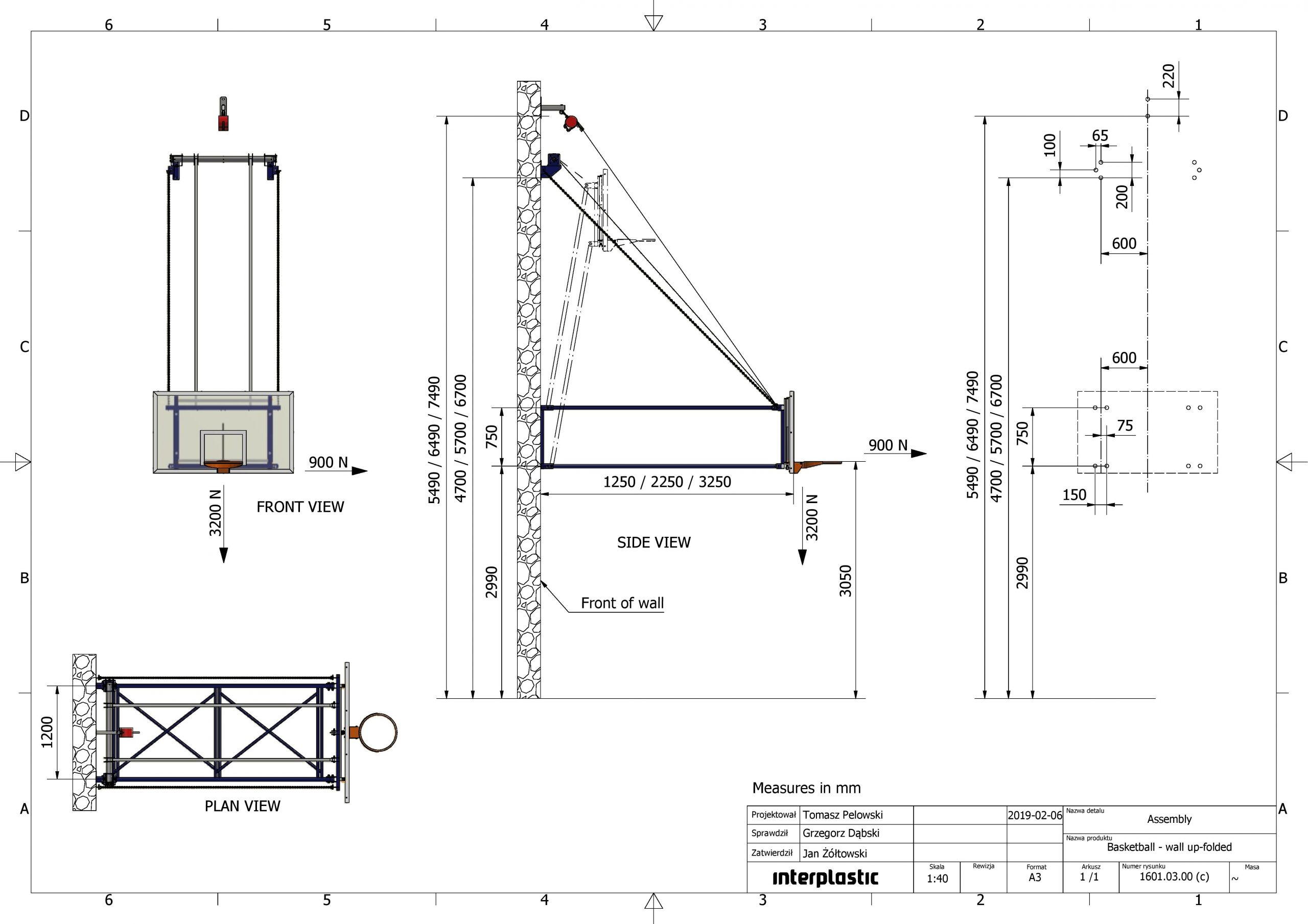 Electrically foldable backboard support structure 425 cm