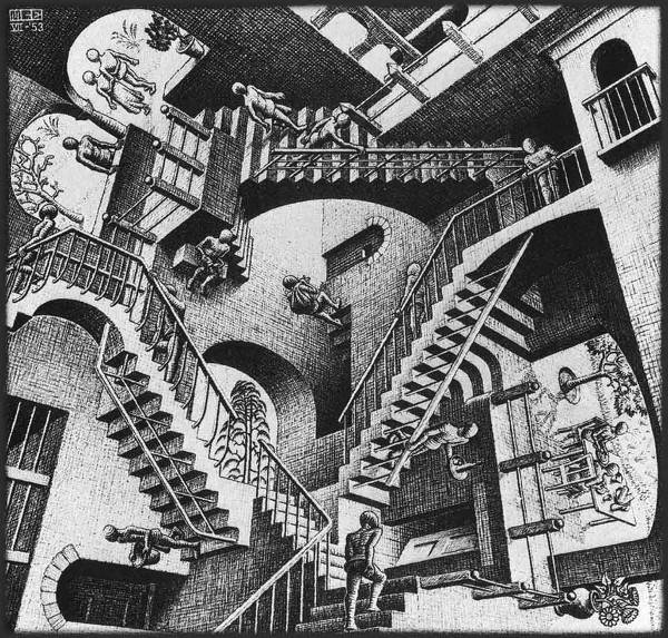 Relativity, de M. C. Escher (litografia) - 1953