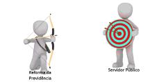 servidor na reforma da previdência, dois bonecos, arco e flexa, alvo, previdência, servido público, computação gráfica