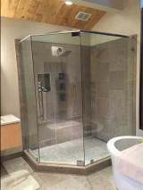 custom angled glass shower enclosure