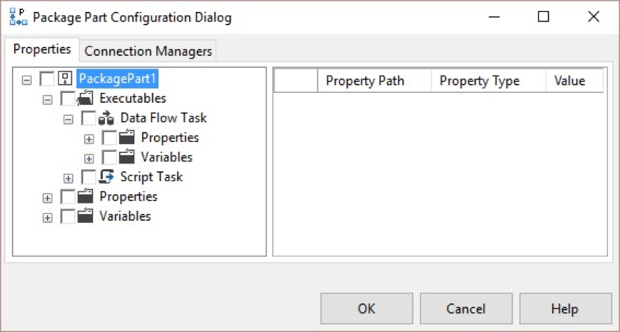 Package Parts configuration dialog
