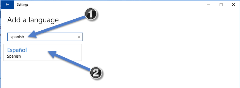type Spanish and select the Español option