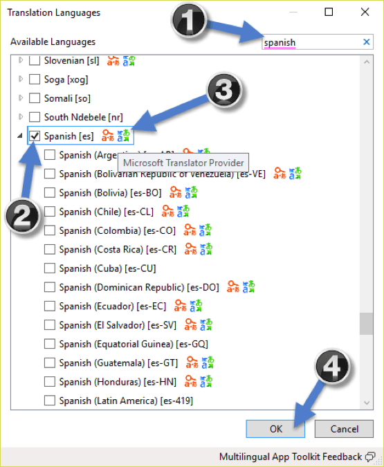 select Spanish in Multilingual App Toolkit