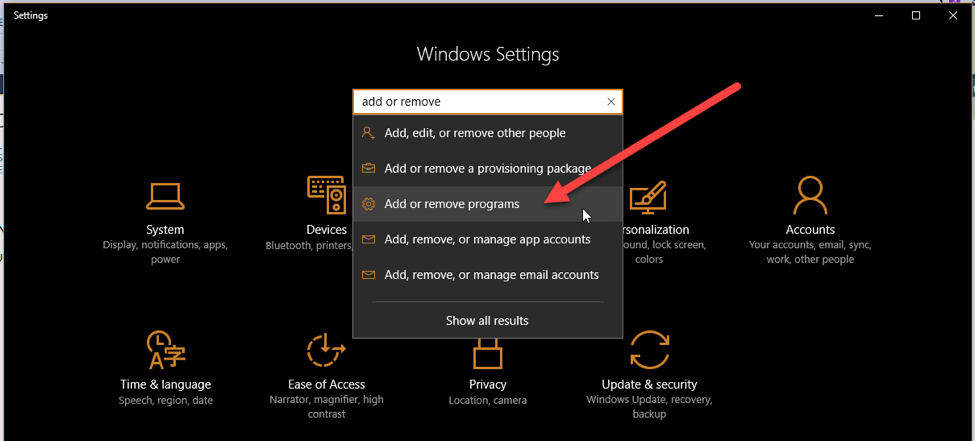 Image showing to select Add or remove programs from the dropdown list in Windows Settings.