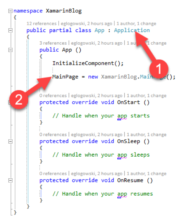Application lifecycle events in the constructor.