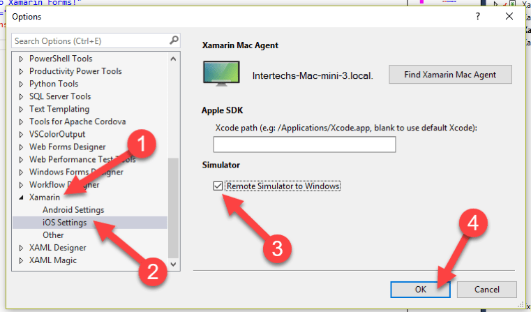 Image showing to uncheck the Remote Simulator to Windows checkbox and select OK