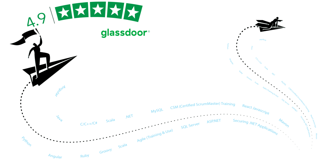 Glassdoor rating of 4.9 graphic image