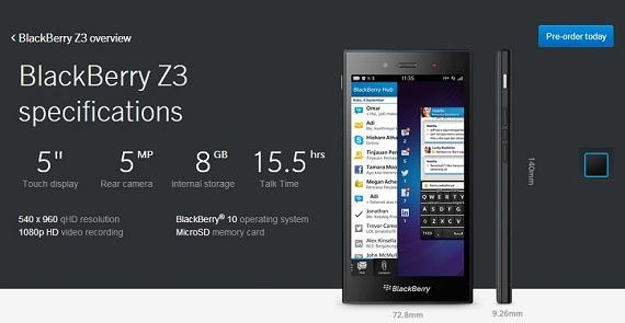 La BlackBerry Z3 ya es oficial y tendrá un precio de 137 euros