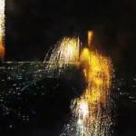 Así se ve un espectáculo de fuegos articulares desde un dron