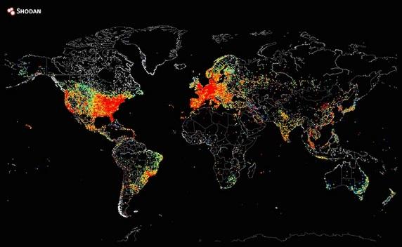 Descubre como se distribuye el mapa del mundo de los dispositivos conectados a Internet