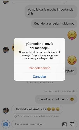 Borrar mensaje de Instagram