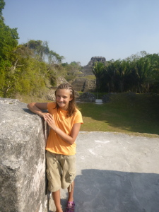 Despite the heat, Zoe climbed all over Xunantunich.