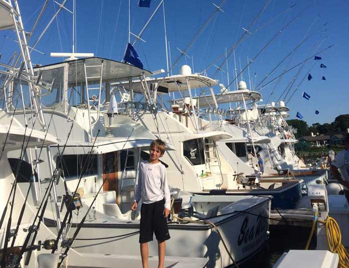 "Top Junior Angler- 10 year old Hayden Cowen fishing on the ""Cotton Picker"" - 3 White Marlin releases"