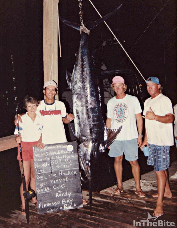 Angler Deborah Maddux and the crew of the Hooker with a 303-pound blue marlin caught on 12-pound. Pictured are Maddux, Randy Baker, Trevor Cockle, and Curt Schloderer.