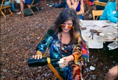 Janis Joplin in the Performer's Area at Woodstock