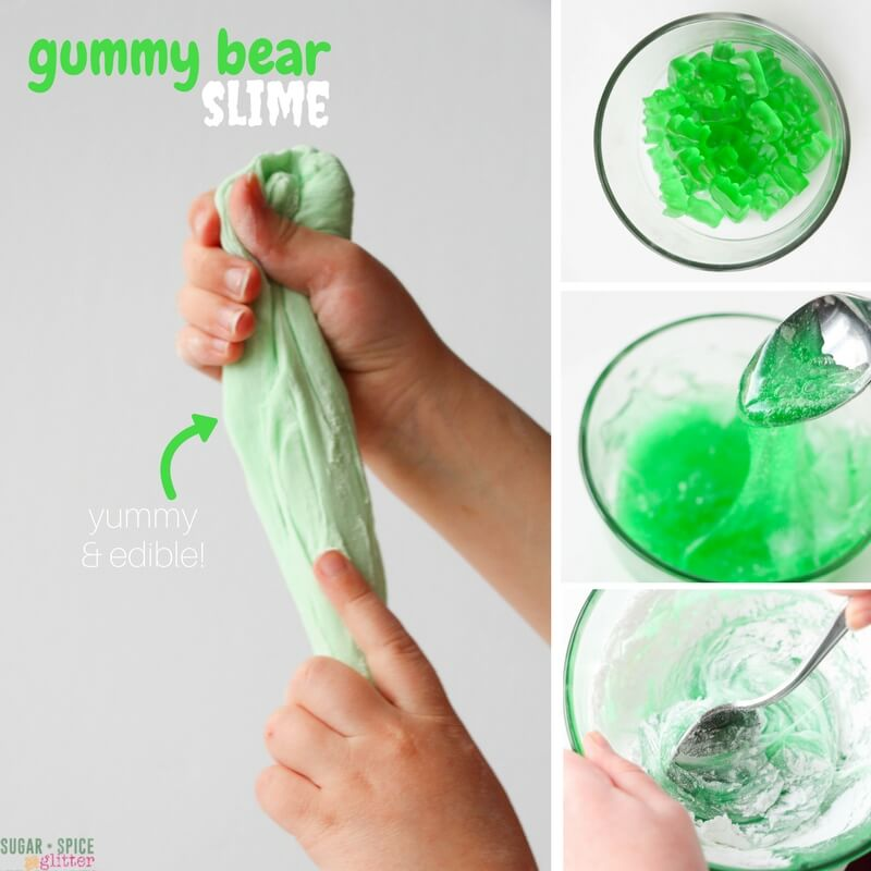 "Edible Easy Gummy Bears Slime DIY Recipe | In the Kids Kitchen ""Ooey, gooey, stretchy, and squishy - kids will go wild over this awesome edible slime recipe made from......gummy bears!! Safe sensory play for all ages!"""