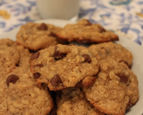 Plate of Easy Peanut Butter Oatmeal Chocolate Chip Cookies
