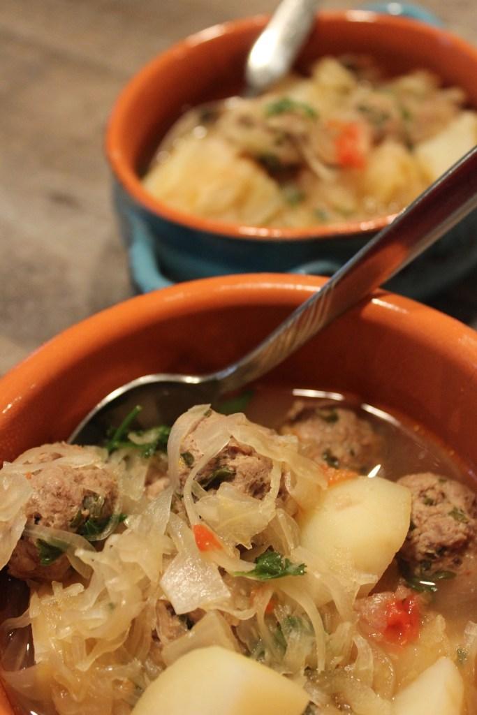 One Pot Meatball Sauerkraut Soup for Two