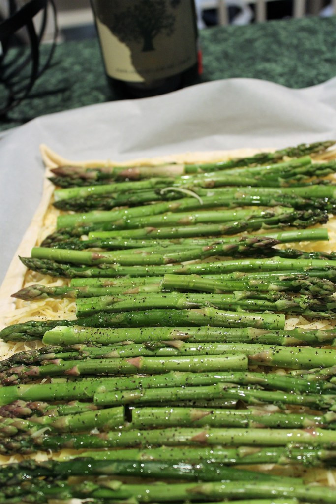 Gruyere Asparagus Tart Ready for Oven