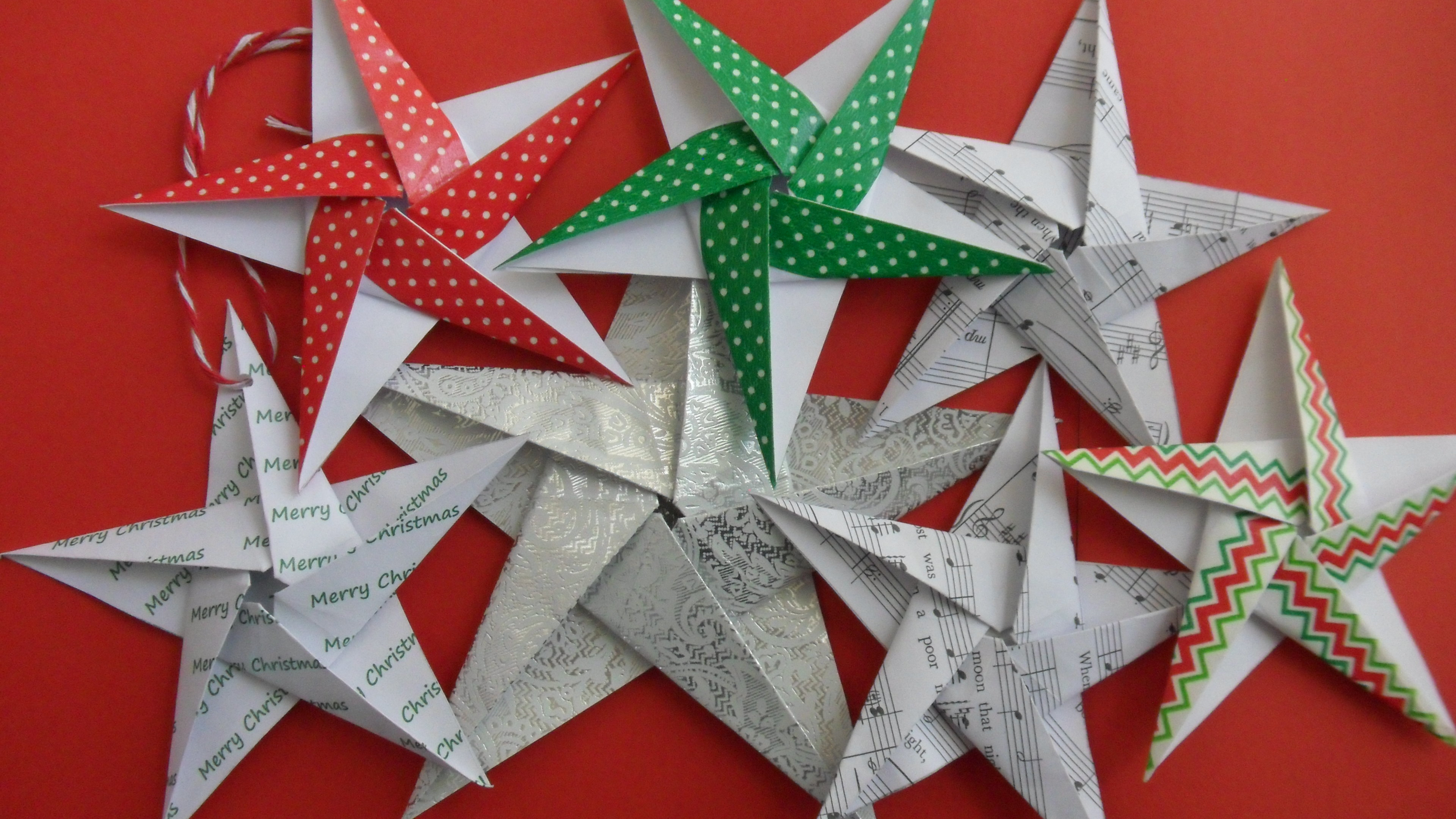 christmas origami diagram 2000 ford explorer stereo wiring themed 5 pointed stars