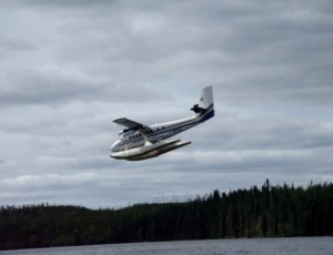 Twin Otter landing on Hockley Lake