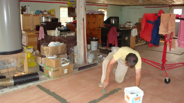 Floor Prepping Amid Chaos
